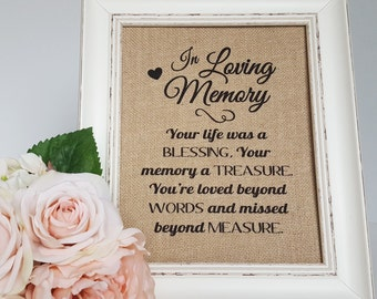 In Loving Memory Wedding Sign - Wedding Remembrance - Memory Table Sign - In Memory Of Wedding Sign - Memorial Table Wedding - Burlap Print