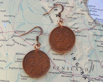 Australia coin earrings - 2 different designs - made of original coins from Australia - wanderlust - travelgift