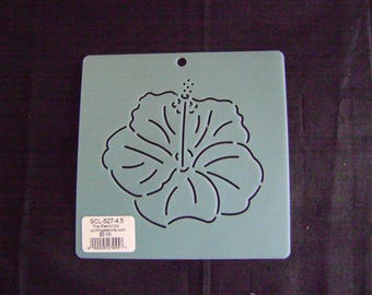 Sashiko Japanese Embroidery Stencil 4.5 in. Asian Hibiscus Flower/Quilting