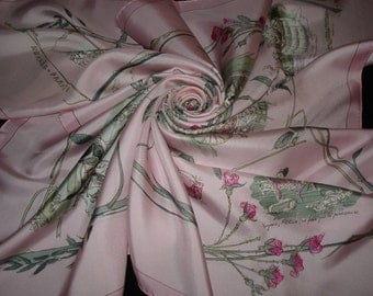 "HERMES silk Scarf pink ""Countess of Ségur"" by Dumas Collection Hermes"