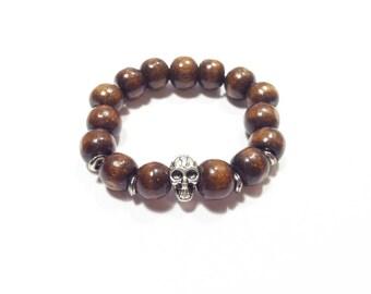 Boys skull bracelet with wooden beads