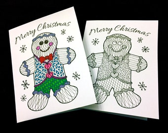 Merry Christmas Greeting Card with Gingerbread Man - PDF Zentangle Coloring Page