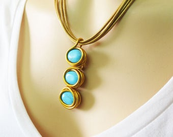 Turquoise And Gold, Gold And Turquoise Necklace, Pendant Turquoise, December Birthstone, Gemstone Necklace, Modern Gemstone Necklace, Gold