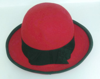 Pretty Vintage Red hat Unisex By BETMAR Hat Winter Red Warm Red and Black agritte Charlie Chaplin