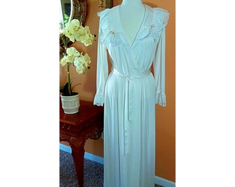 Romantic White Lace long Robe, Size small, but also fit Medium,Vintage Bride Rope Polyester By  Shadow Line