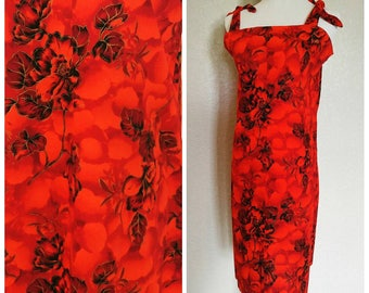 Vintage Red Black and Gold Hawaiian Dress