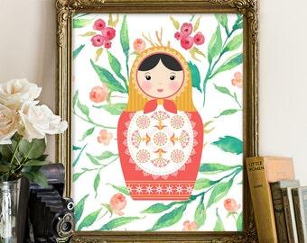 Russian doll printable, matryoshka print, babuska printable, cute printable, nursery printable, green printable, pink matryoshka, doll print