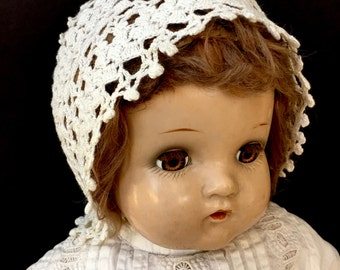 Sweet Antique Crochet Bonnet for Baby or Doll