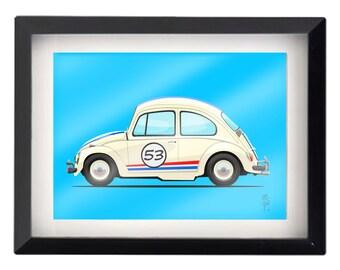 "The Love Bug! Herbie  5""x7"" illustration"