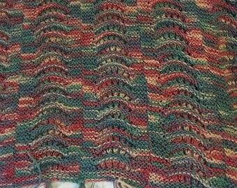 Beautiful handmade knit/crochet blanket fringe