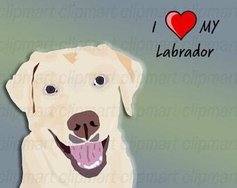 Labrador Retriever Art, Sticker, Handmade Dog Art, High Resolution, Dog Breed Clip Art, Dog Illustration, Pets, Cats, Animals, Unique Images