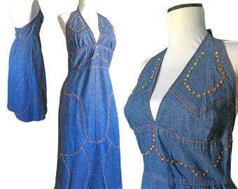 70s Bedazzled Denim Halter Dress