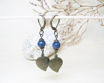 Sapphire Earrings-Vintage Earrings-Blue Earrings-Dangle Earrings-Beaded Earrings-Gemstone Earrings-Romantic Earrings-Antique Charm