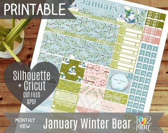 January Monthly View Stickers, Printable Planner, EC 2017 Watercolor Stickers, Winter Bear Monthly Overview, January Month View - CUT FILES
