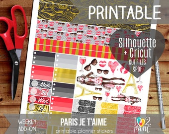 Paris Je t'aime Weekly Add-on Printable Planner Stickers, Erin Condren Vertical and Horizontal, Happy Planner, Weekly Stickers, Cut files