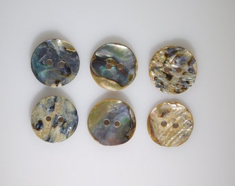 Abalone Buttons, RARE Set of 6 Mother of Pearl 2 Hole 20mm Collectible Antiques for High Quality Jewelry Crafts Clothing Artisans & Sewing