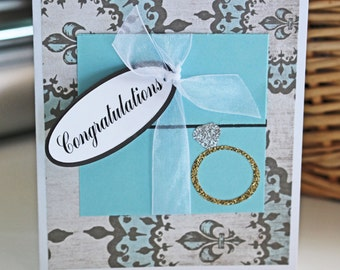 Tiffany, Blue, Ring, Box, Handmade, Card, Engagement, Congratulations, Card, Diamond, Solitaire, Congrats, Wedding, Bride, Shower, Engaged