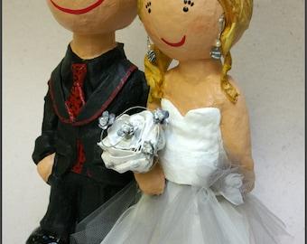 Bride and groom paper mache 100% custom