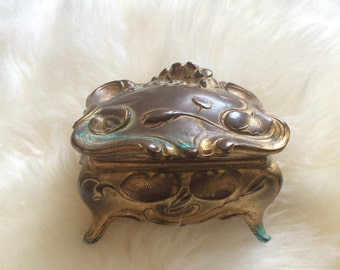 Art Nouveau Brass Casket Jewelry Box