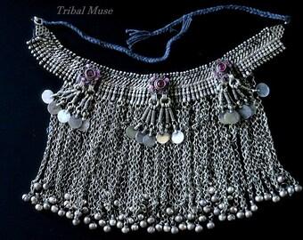 VINTAGE KUCHI NECKLACE - Large Waziri Tribal Jewelry Choker Necklace