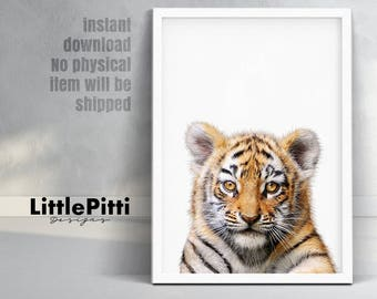 Tiger print, little animals print, safari animals print, nursery safari decor, orange black white nursery decor, baby tiger photo, download