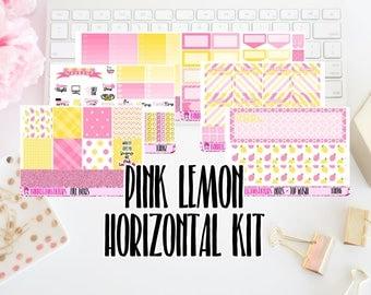 Pink Lemon Stand - Horizontal Planner Sticker Sheets /For/ Erin Condren // Happy Planner // Kikki K // ECH08