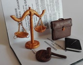 Personalized gift for lawyer, attorney. Office decor, Pretty scale reproductions. Desk Business card holder, lawyer gift. Diorama