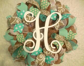 Easter Wreath, Spring Wreath, Easer wreaths, Spring wreaths, Tiffanys Wreath, Monogram Wreath, Easter Door Wreath, Easter,