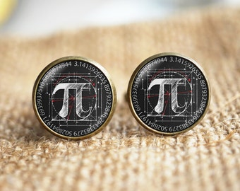 Math PI Cuff links, Pi symbol Cuff links,pi cuff links, teacher cuff links, personalized cuff links, custom wedding cufflinks, groom gifts