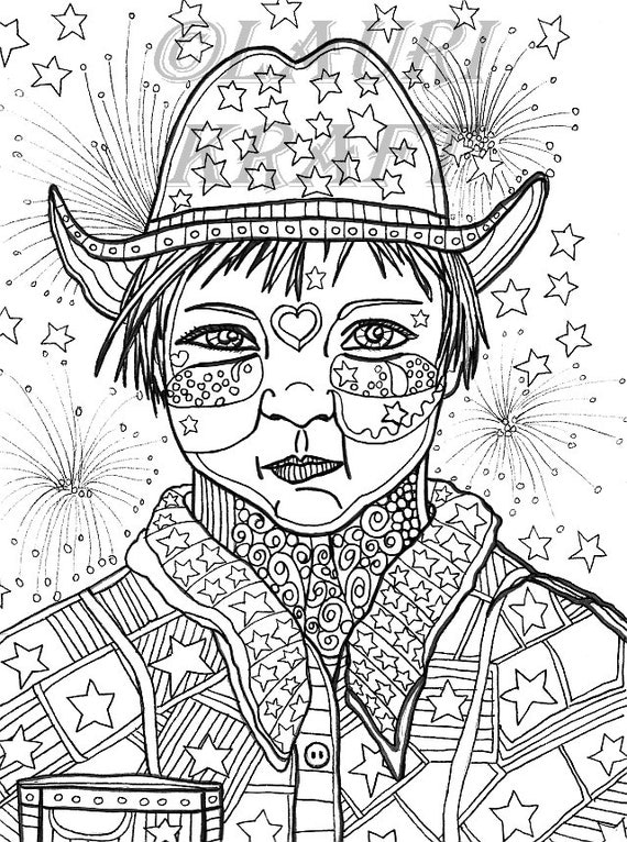 Country rodeo clown fireworks usa Printable Adult Coloring