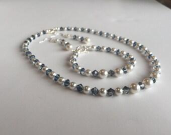 Swarovski pearl and blue crystal jewlery set
