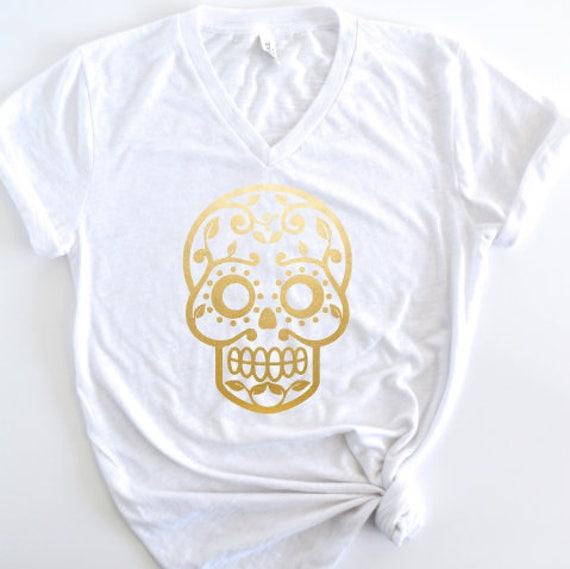 Gold Foil Sugar Skull - Short Sleeve V-Neck Tee Shirt: White Slub