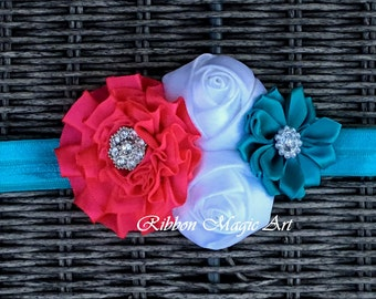 Baby Girl Headband, Turquoise/Hot pink/White Flower Hair Bow For Babies and Toddlers, Flower Headband, Kanzashi style flower