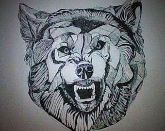 original signed wolf illustration animal art