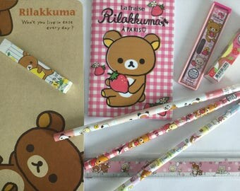 Rilakkuma stationery set, pack 9 stationery items, grab bag kawaii Rilakkuma, Rilakkuma kawaii pack