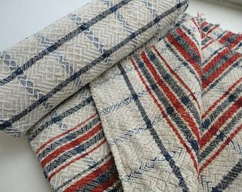 "Farmhouse decor Antique homespun linen coverlet Homestead fabric art Natural hemp bedcover Diagonal Chevron Lozenge twill Tablecloth 31*90"""