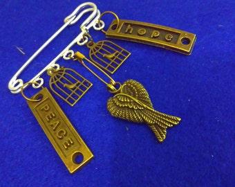 RESIST PIN, birdcage pin, hope pin, peace pin, safety pin, antiracism pin, racism pin, racism, angel pin, solidarity pin, Trump, steampunk
