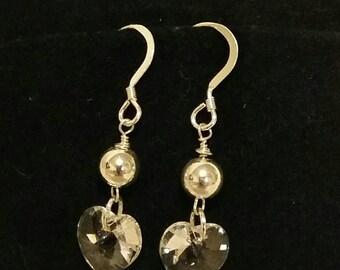 Sterling silver and swarovski clear crystal heart drop earrings