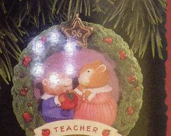 "2 Hallmark Keepsake ""Apple for the Teacher"" Hand Painted Porelain 1994"