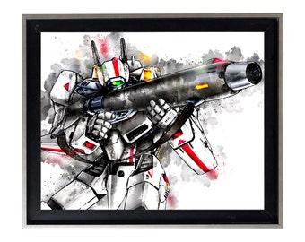 Watercolor Robotech vf-1 Rick Hunter print art matte poster