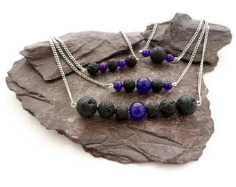 Aromatherapy essential oil diffuser necklace, Amethyst gemstone jewelry, lava rock jewelry, gift for her, volcanic stone beads, yoga gift
