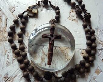 Former French - Rosary - resin - white heart cross Rosary