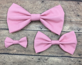 Light Pink Fabric Bow (3 sizes) on Metal Clip, Elastic Headband, or Hair Tie; Pink Fabric Hair Bow, Pink Hair Bow, Large Pink Hair Bow