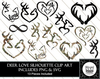 Hunter's Love Silhouette Clip Art Set - 13 Piece - 7 inches - Browning Symbol - Infinity Sign - Instant Download - Printable - PNG & SVG #98