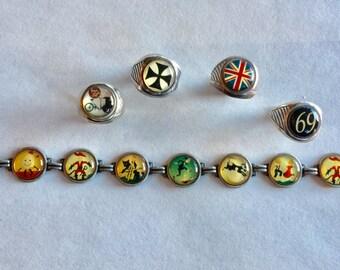 Winky + Dutch Bracelet and (4) Ring Lot.