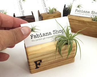 Business Card Holder, Desk Decor, Office Decor, Recipe Card Holder With Air Plant, Upcycled, 1 Character Personalized, Air Plant Desk.