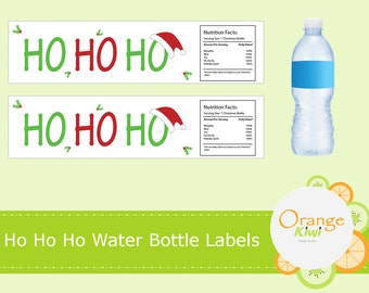 Ho Ho Ho Holiday Water Bottle Labels, Christmas Water Bottle Stickers, Holiday Water Bottle Wraps, Waterproof Stickers