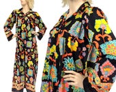 Vintage Clothing - SZ M/L/XL - Vintage MUUMUU - 70s Dress - Maxi Dress - Boho - Floral Print - Retro - Hippie -Long Sleeves -Psychedelic