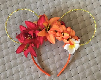 Summer Moana  Tiki room wire floral wire Disney minnie Mickey Mouse ears