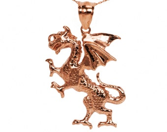 14k Rose Gold Dragon Necklace